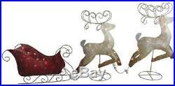 63 2 Reindeer Red Santa Sleigh LED Light Outdoor Garden Lawn Christmas Decor