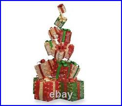 63 Christmas Gift Boxes Stack Santa Presents Led Lighted Yard Decor Life Size