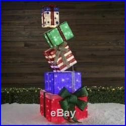 66 Huge Christmas Lighted Gift Box Stack Colorful Yard Decor