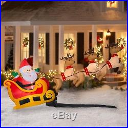 6Ft Inflatable Floating Santa Sleigh with Reindeer Christmas Yard Decor Airblown