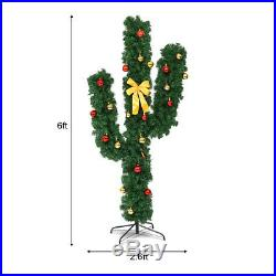 6Ft Pre-Lit Cactus Artificial Christmas Tree withLED Lights and Ball Ornaments