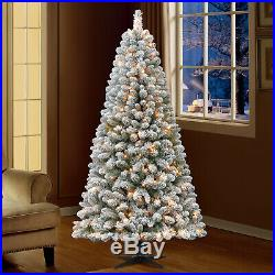 6.5 FT Pre Lit Artificial Christmas Tree Flocked Xmas Decor Snowy Clear Lights