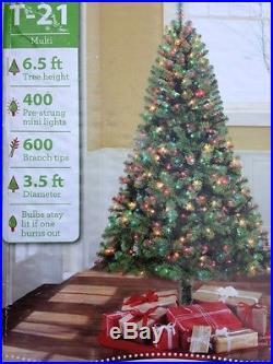 6.5 Foot Madison Pine Prelit w Multi Color Lights Artificial Christmas Tree