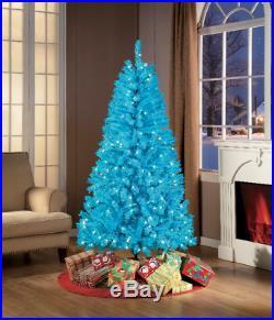 6′ Blue Artificial Christmas Tree Pre-Lit Holidays Decoration Xmas Home Decor