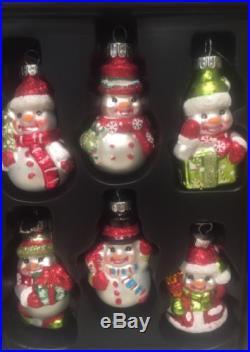 6 Celebrations Radko Glass Glitter Christmas Snowman Ornaments Red/Gold Set