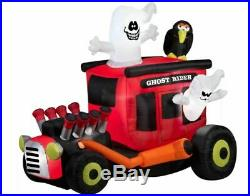 6 FT ANIMATED GHOST RIDER HOT ROD Halloween Airblown Lighted Yard Inflatable