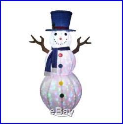 6 Foot Lighted Light Show Snowman Sculpture Outdoor Christmas Yard Lawn Decor