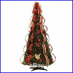 6 Ft Fully Decorated Christmas Tree Red Plaid Pre-Lit Pull-Up Pop-Up Easy Set