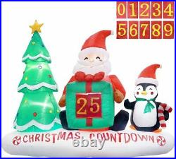 6 Ft Inflatable Christmas Count Down With Christmas Tree, Santa Claus & Penguin