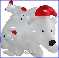 6 Ft Lighted Inflatable Christmas Polar Bear Family with Santa Hat