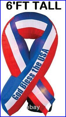 6′ Ft Patriotic American Flag Uncle Sam Ribbon Airblown Inflatable Yard Decor