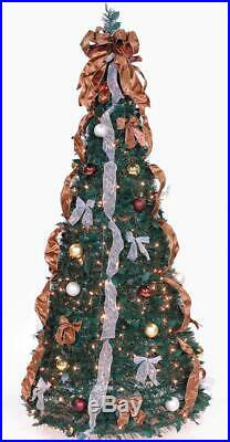 6 Ft Pull Up Decorated & Pre Lit Collapsible Pop Up Christmas Tree 350 Lights