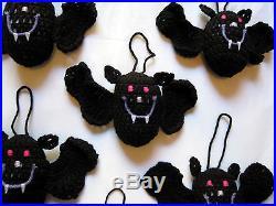 6 HANDMADE Knit CROCHET Hang BATS for HALLOWEEN Holiday CHRISTMAS Tree ORNAMENTS