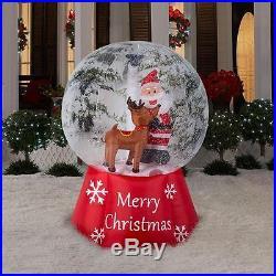 6′ High Photorealistic Santa Reindeer Snow Globe Christmas Airblown Inflatable