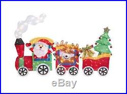 6′ Lighted Tinsel Santa, Reindeer, Christmas Tree in Train Holiday Outdoor Decor