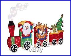 6' Lighted Tinsel Santa, Reindeer, Christmas Tree in Train Holiday Outdoor Decor