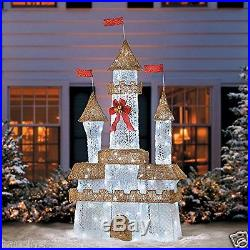 6' Lighted Twinkling Royal Castle Christmas Yard Decor Pre-lit Holiday 72