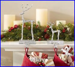 6 NEW Pottery Barn SCULPTED REINDEER STOCKING HOLDERS small set 6 CHRISTMAS