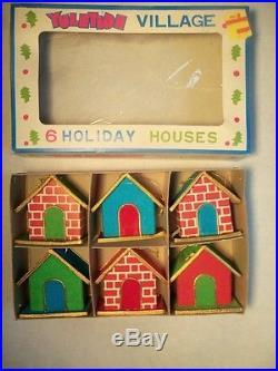 6 NOS Vntg YULETIDE PUTZ VILLAGE HOUSESMica Cardboard/Velvet/Gold Cord Ornament