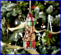 6 POTTERY BARN Christmas GLASS GIFT BEAR ORNAMENT Holiday Teddy Bear NEW