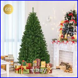6′ Pre-Lit Artificial Christmas Tree Premium Hinged with 350 LED Lights & Stand