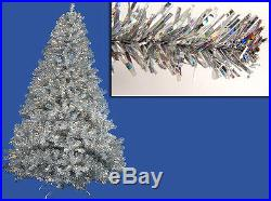 6′ Pre-Lit Silver Full Artificial Sparkling Tinsel Christmas Tree- Clear Lights