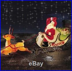 6' Santa Reindeer Sleigh Lighted Blow Mold Display Outdoor Christmas Yard Decor