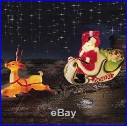 6′ Santa Reindeer Sleigh Lighted Blow Mold Display Outdoor Christmas Yard Decor