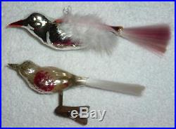 6 Vintage Clip On Mercury Glass Bird Christmas Tree Decorations Gift Boxed L54