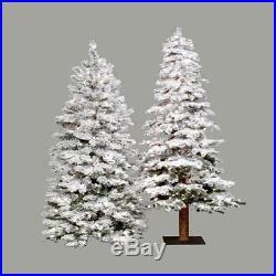 6 ft. Flocked Spruce Alpine Medium Pre-lit Christmas Tree, White, 6 ft