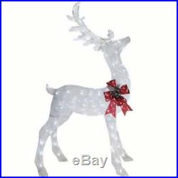 6 ft Glittering White Lighted Buck Deer Sculpture Outdoor Christmas Yard Decor
