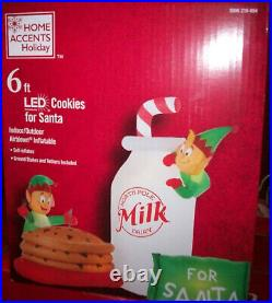 6 ft LED Airblown Elves in Cookie Jar and Milk Scene Christmas Inflatable