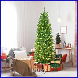 6 ft Pre-lit Pencil Christmas Tree Hinged Fir Tree Holiday Decor with LED Lights
