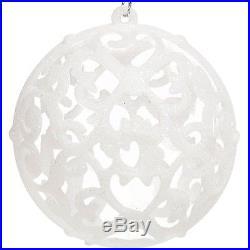6 pcs Christmas White Glitter Baubles Balls Xmas Tree Decoration Home Ornaments