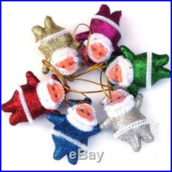6 pcs Multi-Color Christmas Santa Claus Party Ornaments Xmas Tree Hanging Decor