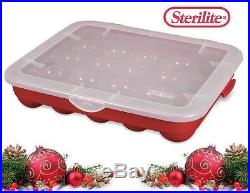 6-pk STERILITE Plastic 20 CHRISTMAS ORNAMENT STORAGE Cases BOXES Red Stackable