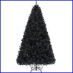 6ft/7.5ft Unlit Black Artificial Christmas Halloween Pine Tree Holiday Decor