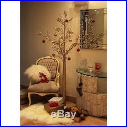 6ft Champagne Gold Christmas Twig Tree Pre Lit 96 LED Lights Indoor & Outdoor
