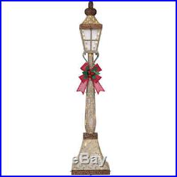 6ft Christmas Decorations Glitter Lamp Post & Bow 120 LED Lights Indoor/Outdoor