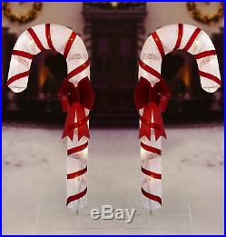 6ft Large Candy Canes Christmas 2 Lights Sculptures Outdoor Yard Art Decoration
