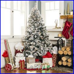 6ft Pre-Lit Snow Flocked Artificial Fake Pine Christmas Tree Warm White Lights