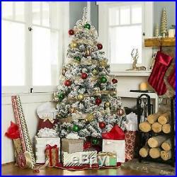6ft Pre-Lit Snow Flocked Hinged Premium Festive Artificial Christmas Pine Tree