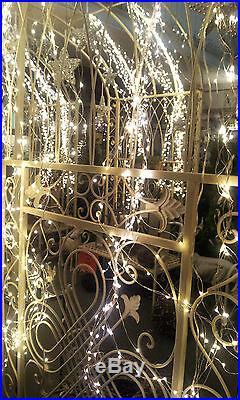 700 Lichter Micro LED Lichterregen Silberdraht Außen Draht Trafo Warmweiß