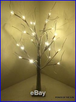 70cm Snowy Glitter Twig Tree/Pre-lit/24 LED White Christmas Lights/Decoration