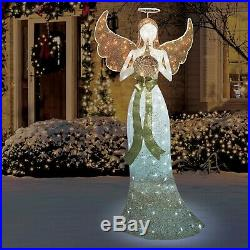 72 Heavenly Christmas Outdoor Indoor Decor LED Glittering Thread Trumpet Angel