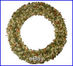 72 in. Christmas Holiday Wintry Green Pine Artificial Wreath, Lights Decor