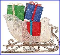 72 in. LED Lights Jumbo Sleigh Gift Boxes Presents Yard Holiday Christmas Decor