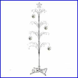74 Metal Artificial Ornament Christmas Tree Rotating Display Stand Silver