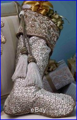 $750 NEW JAY STRONGWATER Floral Field Golden White Velvet Stocking Christmas