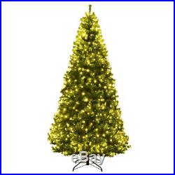 7Ft Artificial Christmas Tree Pre-Lit Hinged with 500 LED Lights & Stand Indoor